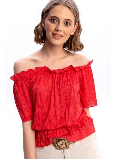 Emjey Madonna Yaka Piliseli Bluz Kırmızı